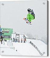 Kelly Clark Womens U S Snow Boarding Open 2011 Acrylic Print by Linda Pulvermacher