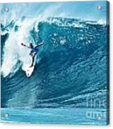 Kelly Slater At Pipeline Masters Contest Acrylic Print by Paul Topp