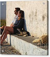 Kicking Back In Greece Acrylic Print by Bob Christopher