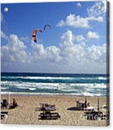 Kite Boarding In Boca Raton Florida Acrylic Print by Merton Allen