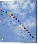 Kites Fly In A Rainbow Of Colors Acrylic Print by Stephen Alvarez