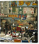 Kowloon Street With Workers Setting Acrylic Print by Justin Guariglia