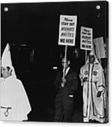 Ku Klux Klan Members, In Hooded White Acrylic Print by Everett