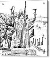 La Rogativa Sculpture Old San Juan Puerto Rico Black And White Line Art Acrylic Print by Shawn O'Brien