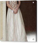 Lacy In Ecru Lace Gown Acrylic Print by Jill Battaglia