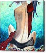 Lady In Red Acrylic Print by Jolanta Anna Karolska