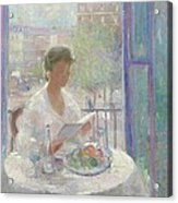 Lady Reading At An Open Window  Acrylic Print by Clementine Helene Dufau