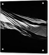 Large Argentinian Flag Flying In The Wind Against A Blue Sky Republic Of Argentina Acrylic Print by Joe Fox