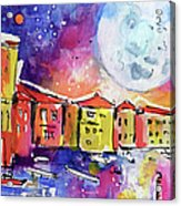 Large Moon Over Venice  Acrylic Print by Ginette Callaway