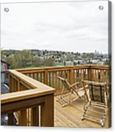 Lawn Chairs On Deck Acrylic Print by Andersen Ross