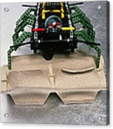 Lego Robot Spider Climbing Over A Box Acrylic Print by Volker Steger