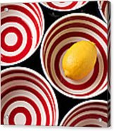 Lemon In Red And White Bowl  Acrylic Print by Garry Gay