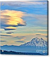 Lenticular Cloud And Mount Rainier Acrylic Print by Sean Griffin