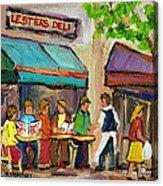 Lester's Deli Montreal Cafe Summer Scene Acrylic Print by Carole Spandau