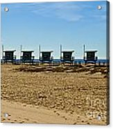 Lifeguard Stand's On The Beach Acrylic Print by Micah May