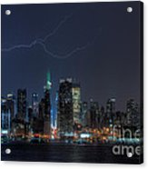 Lightning Over New York City Ix Acrylic Print by Clarence Holmes