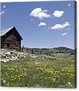 Log Cabin On The High Country Ranch Acrylic Print by Rich Reid
