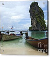 Long Tail Boats Thailand Acrylic Print by Bob Christopher