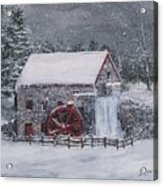 Longfellow's Grist Mill In Winter Acrylic Print by Jack Skinner