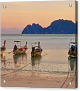 Longtail Boats On Beach At Sunset Acrylic Print by Image by Ben Engel