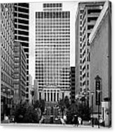 Looking Up Deaderick Street Towards War Memorial Plaza And The William Snodgrass Tennessee Tower Acrylic Print by Joe Fox