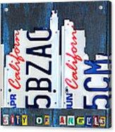 Los Angeles Skyline License Plate Art Acrylic Print by Design Turnpike