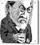 Louis Pasteur, Caricature Acrylic Print by Gary Brown