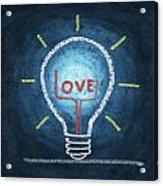 Love Word In Light Bulb Acrylic Print by Setsiri Silapasuwanchai