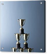 Loving Cup Trophies Stacked In A Pyramid Acrylic Print by Larry Washburn