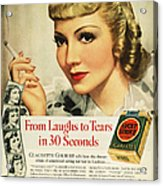 Luckys Cigarette Ad, 1938 Acrylic Print by Granger