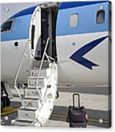 Luggage Near Airplane Steps Acrylic Print by Jaak Nilson