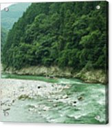 Lush Green Volcanic River Gorge, Kyoto, Japan Acrylic Print by Ippei Naoi