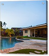 Luxury Backyard Pool And Lanai Acrylic Print by Inti St. Clair