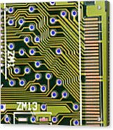 Macrophotograph Of Printed Circuit Board Acrylic Print by Dr Jeremy Burgess