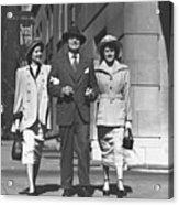 Man And Two Women Walking On Sidewalk, (b&w) Acrylic Print by George Marks