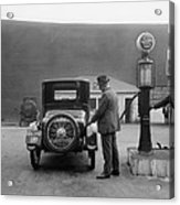 Man Fueling His Car At A Self-service Acrylic Print by Everett