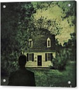 Man In Front Of Cottage Acrylic Print by Jill Battaglia