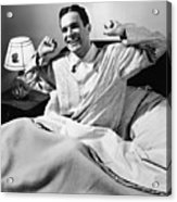 Man Stretching In Bed, (b&w), Acrylic Print by George Marks