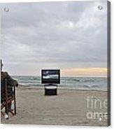 Man Watching Tv On Beach At Sunset Acrylic Print by Sami Sarkis