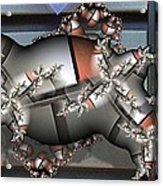 Mandelbrot Meets Mondrian Acrylic Print by Ron Bissett