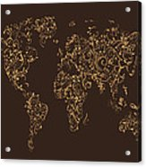 Map Of The World Map Floral Swirls Acrylic Print by Michael Tompsett
