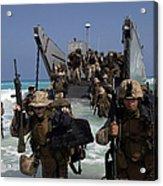 Marines Disembark A Landing Craft Acrylic Print by Stocktrek Images
