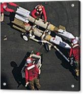 Marines Push Pordnance Into Place Acrylic Print by Stocktrek Images