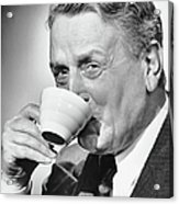 Mature Man Drinking Cup Of Coffee Acrylic Print by George Marks