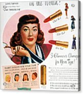Max Factor Lipstick Ad Acrylic Print by Granger