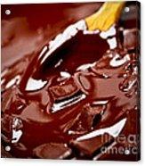 Melting Chocolate And Spoon Acrylic Print by Elena Elisseeva