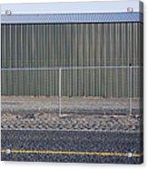 Metal Storage Shed Behind Fence Acrylic Print by Paul Edmondson