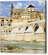Mezquita Cathedral And Roman Bridge In Cordoba Acrylic Print by Artur Bogacki