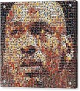 Michael Jordan Card Mosaic 3 Acrylic Print by Paul Van Scott