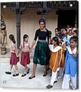 Michelle Obama Accompanied By Children Acrylic Print by Everett
